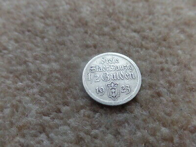 Rare Collection Poland Danzig (Gdansk) 75% Silver Coin 1/2 Gulden 1923 ,  19mm