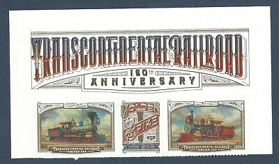 5378-5380 (5380a) Transcontinental Railroad Header Strip Of 3 Mint/nh