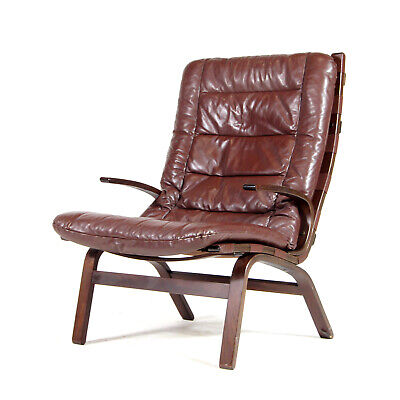 Retro Vintage Danish Farstrup Rosewood & Leather Lounge Chair Armchair 60s 70s