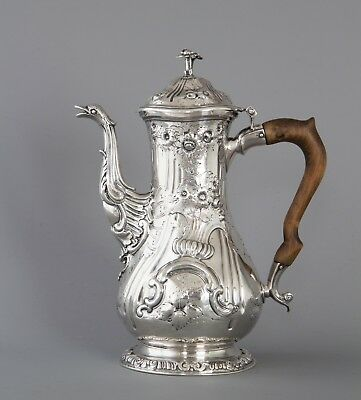 A Superb Georgian Silver Coffee Pot, by Herne & Butty London 1760