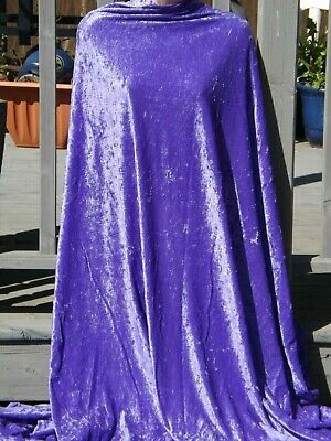 PREMIUM QUALITY PURPLE 4 WAY STRETCH SPANDEX CRUSH VELVET FABRIC   150cm WIDE