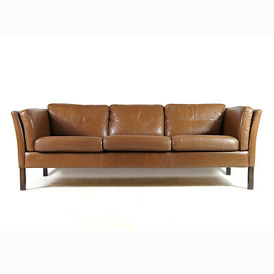Retro Vintage Danish Rosewood & Leather Seat 3 Seater Sofa 70s Mid Century 60s