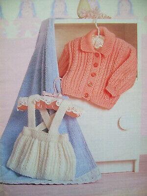 baby girls boys JACKET SKIRT HOODED CARDIGAN KNITTING PATTERN DK 16 - 20in 0 -12