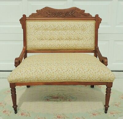 Antique Victorian Eastlake Carved Flower Wood Upholstered Love Seat Settee Bench