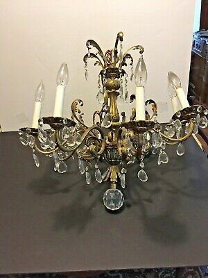 Vintage Ornate Brass 8 Arm Chrystal Chandelier Lamp Parts Repair shabby chic