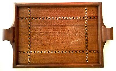 Antique/Vintage Inlaid Marquetry Wood Serving Tray
