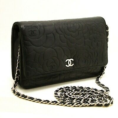 426b18b08346 R75 CHANEL Authentic Black Camellia Embossed Wallet On Chain WOC Shoulder  Bag