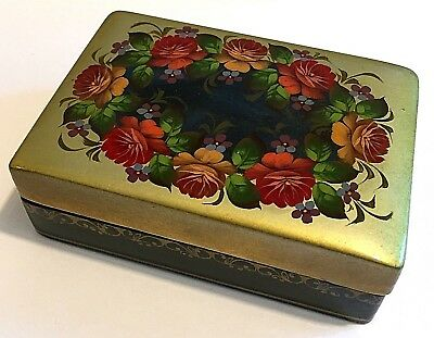 Vintage Lacquer Box Flowers Painted Black & Gold Exterior Red Interior Russian ?