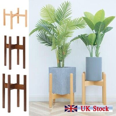 Plant Stand Mid Century Wood Wooden Pot Flower Holder Display Rack Rustic Decor