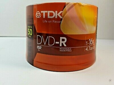 TDK DVD-R 50 Pack Spindle 16x 4.7GB Recordable Blank Media Disks NEW SEALED