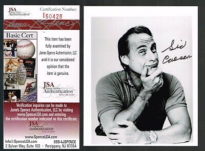Sid Caesar autographed photo, JSA sticker and card.