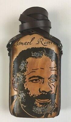 Glass Bottle (Caneka) Wrapped In Leather with Puerto Rico design Ismael Rivera