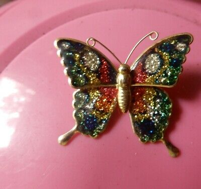"""Vintage Estate Enamel Butterfly Brooch Japan  """"tin"""" Insect -  2 post all free"""