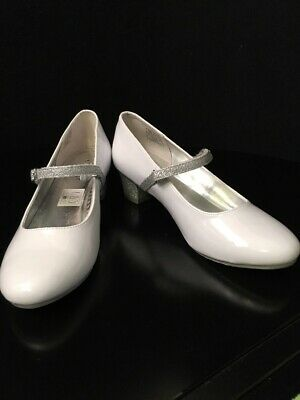 Nine West Kids Girls' Patrece Mary Jane Pump White Patent/Silver Glitter Size 5