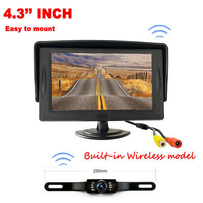 """Car Backup Camera Rear View Built-in Wireless Model+4.3"""" TFT LCD Monitor System"""