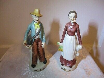 """Vintage Pair Of Porcelain Figurines - Old Man & Woman 8"""" Tall - UCGC Taiwan"""