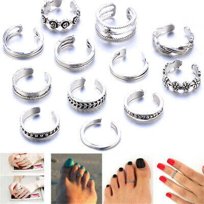 12PCS Celebrity Womens Simple Toe Ring Set Adjustable Foot Beach Fashion Jewelry