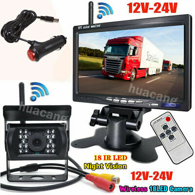 "Wireless 7"" LCD Monitor + CAR Backup Reverse Rear View CCD Camera for Truck RV"