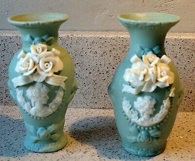 "Vintage Green & Cream Cameo Victorian Style Ceramic Vases X 2 Lady + Roses 5.5""H"