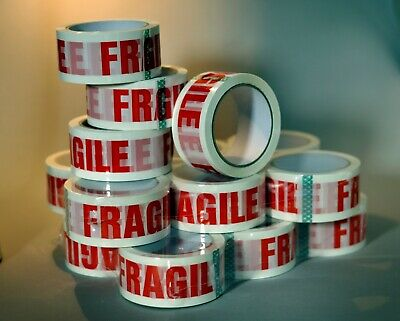 6 rolls strong printed LOW NOISE FRAGILE STIKKY TAPE 48mm x 66m Fast Delivery
