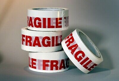 6 rolls strong FRAGILE red printed sealling STIKKY TAPE 48mm x 66m FAST DELIVERY