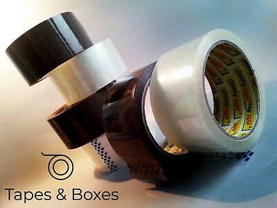 18 24 72 144 rolls of  BROWN or CLEAR stikky parcel tape. FREE NEXT DAY DELIVERY