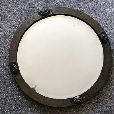 Antique Copper Mirror 1910s 1900s Hammered Bevelled Distressed Round Arts Crafts