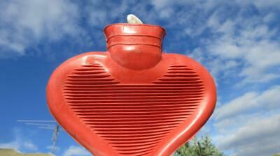 1950's Circa Heart Shaped Rubber Hot Water Bottle with Screw on Top.
