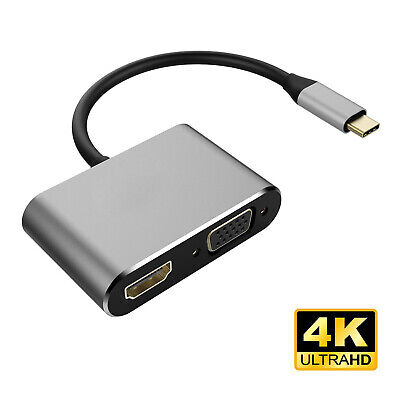 Gold-Plated 4k*2k Type-C USB 3.1 to HDMI VGA Converter Computer to TV Projector
