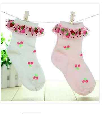 2 Pairs Lovely Girls Frilly Lace Ankle Socks (1*Baby Pink, 1* White) Size18M-6Y