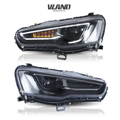 LED Headlights For MITSUBISHI LANCER/EVO X 2008-2017 1 Set Audi Style All Black