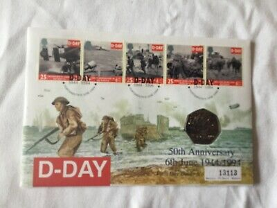 1994 COIN COVER FDC 50th Anniversary of D Day, with 50p. Portsmouth postmark