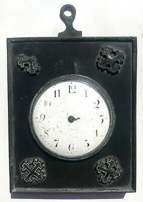 Lovely Chain Fusee Strut Easel Wall Clock With Wooden Bronze Frame Pocket Watch