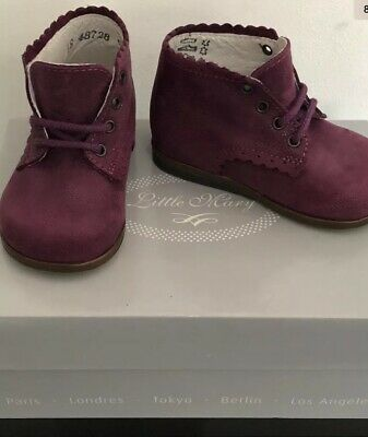 Little Mary Vivaldi First Steps Baby Girls Leather Boots UK Size 2/2.5