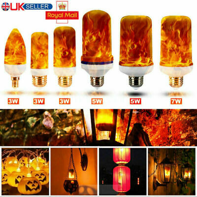 E27 LED 3W & 7W Burning Light Flicker Flame Lamps Bulbs Fire Effect Decor LOT