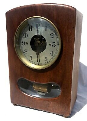 Stunning Mahogany French Electric Bulle Clock With Glass Window