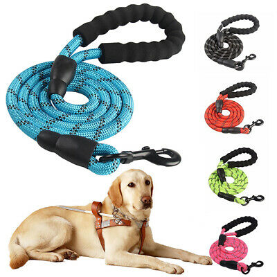 5FT Extra Strong Reflective Braided Nylon Rope Dog Lead Leash with Soft Handle