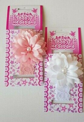 NEW Baby Girls Soft Touch Lace Headband with Flower Detail 0-6 month PINK WHITE