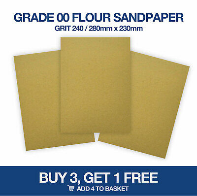 Cooksongold Cabinet Makers Glass Paper Sandpaper Grade 00 or Flour 280 x 230mm