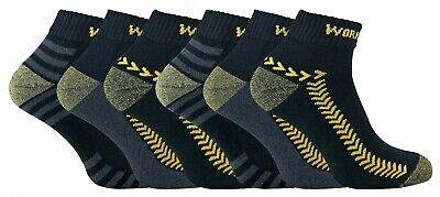6 Pairs Cotton Mens Trainer Low Cut Short Work Socks with Reinforced Heel & Toe