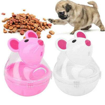 Cute Pet Cat Dog Tumbler Feeder Mice Shape Toy Leakage Food Dispenser Treat Ball