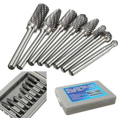 8Pcs 1/4Shank Double Cut Carbide Rotary Burr Bur Die Grinders Carvings Bits Set