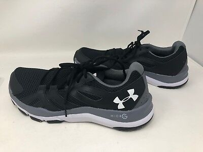 New w/defect Mens Under Armour Strive 6 Training Shoe Blk/Gray/White 1274408 A15