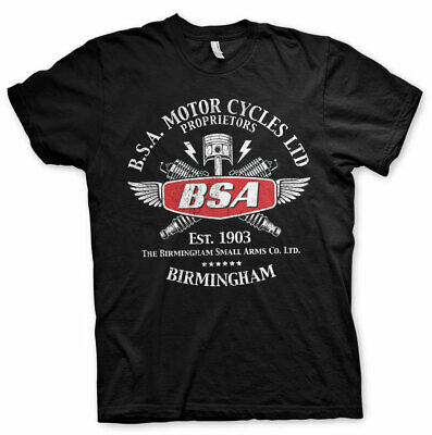Official Licensed B.S.A. Motor Cycles Sparks Men's Black T-shirt S-XXL Sizes