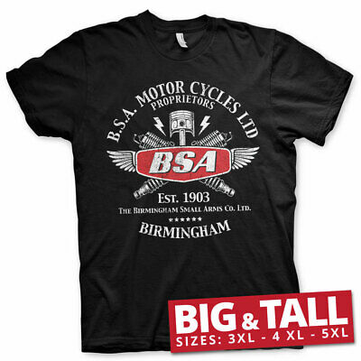 Official Licensed B.S.A. Motor Cycles Sparks Big & Tall 3xl,4xl,5xl Tee (Black)