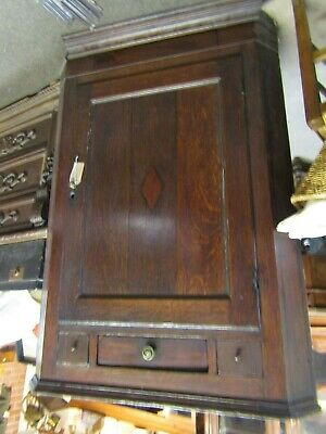 Georgian Oak & Mahogany Crossbanded Corner Cupboard  Box For Restoration