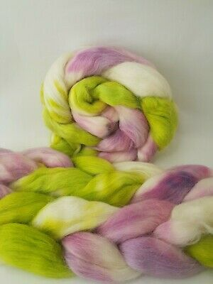 Hand dyed Baby Alpaca roving, wool top, 100 g, SPRINGLY