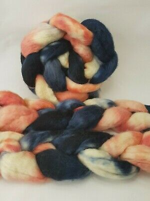 Hand dyed BFL roving, wool top, 100 g, SQUID