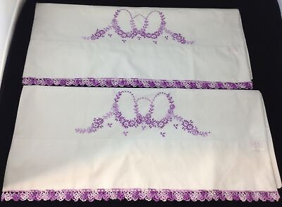 Vtg Pair Pillowcases Embroidered Purple Lavender Flowers Crochet Edge Exquisite