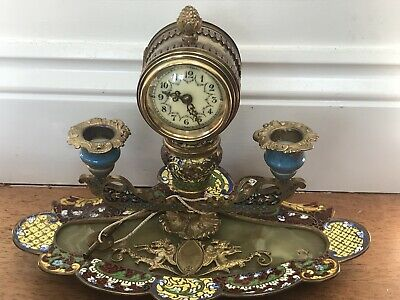 Antique French Champleve Enamel Ormolu Clock Inkwell Candle Sticks 1880